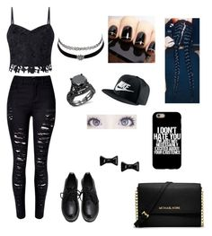Untitled #45 by ayeitzryan on Polyvore featuring polyvore fashion style Lipsy MICHAEL Michael Kors Marc by Marc Jacobs NIKE Charlotte Russe Eos clothing