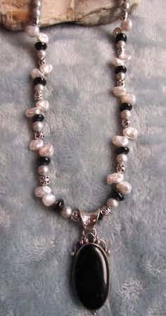 Pretty Onyx Pearl & Pewter Necklace with by azulsoljewelrydesign