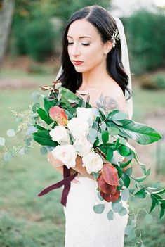 With Grandma's Ring, This Bride Shines | Tidewater and Tulle • Coastal Virginia Wedding Blog and Magazine Wedding Bouquets, Wedding Flowers, Presentation Styles, Ribbon Bouquet, Wedding Dress With Veil, Tiffany Wedding, Wedding Flower Inspiration, Allure Bridal, Timeless Wedding