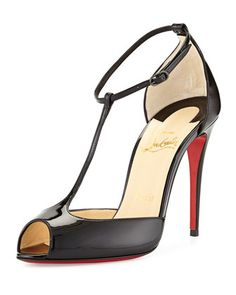 Senora Patent T-Strap Red Sole Sandal, Black by Christian Louboutin at Neiman Marcus.