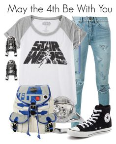 """Star Wars"" by megan-vanwinkle ❤ liked on Polyvore featuring Yves Saint Laurent, Hybrid, R2 and Converse"