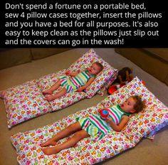 DIY Portable Pillowcase Pillow Bed | thriftydiydiva.com
