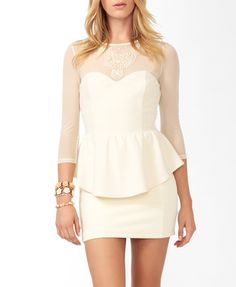Beaded Mesh Peplum Top #f21exclusivecollection #dreamgirl