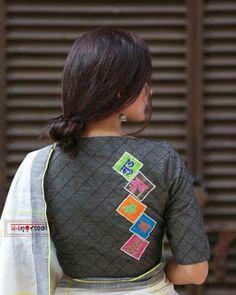 Kalamkari Blouse Designs, Cotton Saree Blouse Designs, Black Blouse Designs, Blouse Designs High Neck, Designer Blouse Patterns, Latest Blouse Patterns, Stylish Blouse Design, Blouses, Kurti