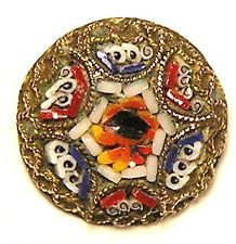 OLD*AWESOME SMALL SIGNED VINTAGE MICRO MOSAIC IN BRASS W/FLOWERS BUTTON