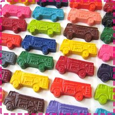 Fire truck crayons. Could probably make these really easily, or order them from this etsy shop. Cute idea for party favors.