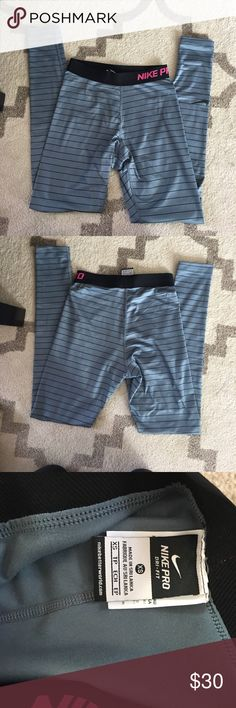 Nike pro for fit leggings size xs Grey with black strips and pink Nike pro writtten on waste band leggings dri fit brand new never worn Nike Pants Leggings