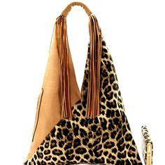 Leopard Accent Fringed Hobo SET   Wallet - DESIGNER LIKE. Fab Bag ... 1188cf4959116
