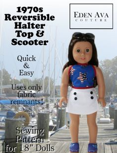 1970's Reversible Halter Top and Scooter 18 inch Doll Clothes Pattern PDF Download | Pixie Faire