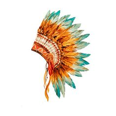 2 Elegant Watercolor Head Dress Temporary Tattoo, various sizes available Tribal