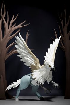 The magical creatures commonly found in the Forbidden Forest, reimagined by Pottermore as paper models. Horse Rearing, Forbidden Forest, Winged Horse, Fantastic Beasts And Where, Harry Potter World, Magical Creatures, Paper Models, Art Portfolio, Hogwarts