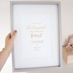 Personalised 'Bridesmaid' Wedding Foil Print - Lily Rose Co. Wedding Prints, Personalised Gifts, Wedding Bridesmaids, Lily, Weddings, Rose, Beautiful, Design, Personalized Gifts