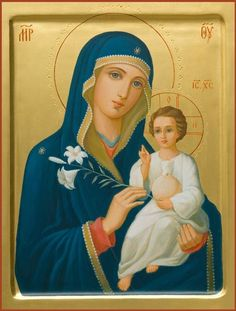 Mother of God the Unfading Bloom - Hand-Painted Icon from the Workshop of St. Elisabeth Convent