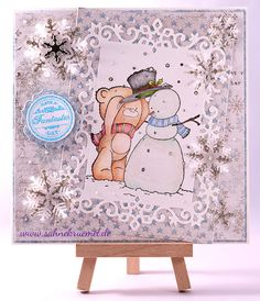 """Winter greeting card, using """"Build a Snowman"""" Whimsy Stamps; Designerpaper """"Vintage Frost Basics"""" and """"Home for the Holidays"""" Maja Design; """"Snowflake Frame"""" Wild Rose Studio; """"XXL Nest-Lies Double Stitched Rectangles"""", """"XXL Nest-lies Double Stitched Circles"""" aund """"XXL Nest-lies Flowers"""" Crealies; """"Snow flakes SDL029"""" Nellie Snellen; Glitter Cardstock Rayher; Sentiment """"Birthday Circles"""" Wild Rose Studio; Stickles """"Diamond""""; WOW Embossing powder; Snowflake Brad Vaessen; colored with…"""