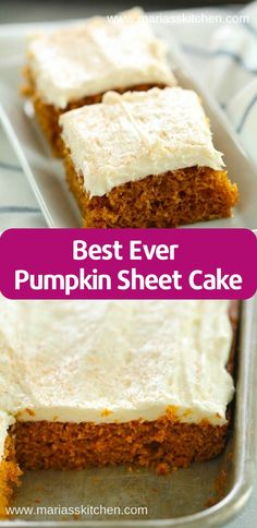 Best Ever Pumpkin Sheet Cake Recipe - Light and fluffy homemade pumpkin cake topped with delicious cream cheese frosting.