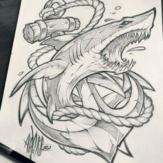 Shark / Anchor // Client WIP - - Your dream wedding and venue organization, Your dream wedding and venue organization Tattoo Design Drawings, Tattoo Sketches, Cool Drawings, Art Sketches, Tattoo Designs, Shark Tattoos, Body Art Tattoos, Sleeve Tattoos, Tribal Shark