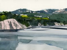 Eva Bartel, George Lake, Killarney, Ontario, watercolor Watercolor Landscape Paintings, Watercolour, Alberta Canada, British Columbia, Ontario, River, Artist, Outdoor, Watercolor Artists