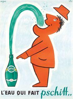 France - Perrier - Pschitt - (artist: Savignac, Raymond c. - Vintage Advertisement Fine Art Giclee Gallery Print, Home Wall Decor Artwork Poster) Old Poster, Retro Poster, Poster Ads, Retro Ads, Vintage Advertising Posters, Old Advertisements, Vintage Posters, Pub Vintage, Vintage Labels