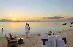 Treat yourself on honeymoon and arrange a private dinner on the beach, this shot is taken at Le Victoria Hotel in Mauritius