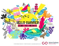 Hello Summer, Adobe Illustrator, Graphic Design, Holidays, Gallery, Behance, Profile, Events, Illustrations