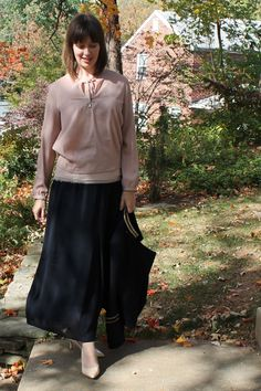 Outfit idea: Layered blush tone blouses with navy maxi skirt, navy wool blazer and nude pumps. [http://www.franticbutfabulous.com/2013/11/06/working-mom-outfit-idea-navy/]