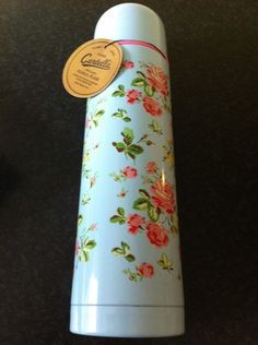 INSULATED FLASK chic DUCK EGG BLUE floral print camping HOLIDAYS DRINKS BOTTLE available at bells vintage boutique stores.ebay.co.uk/bellsvintageboutique
