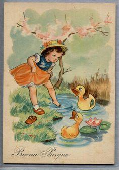 Buona Pasqua Bambina con Paperelle Childrens Easter PC Circa 1940 | eBay