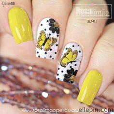 29 best summer floral and butterfly nails - Sayfa 29 / 29 - Fashion & Beauty Diy Nail Designs, Acrylic Nail Designs, Oval Nails, Toe Nails, Butterfly Nail, Butterfly Pattern, Disney Acrylic Nails, Yellow Nails, Flower Nails