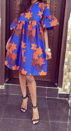 Summer dress/Short dress/African fabric dress/Ankara Dress/African Clothing/African Dress/Boho Dress/African Fashion /Women's Clothing/dress – style ideas Latest African Fashion Dresses, African Print Dresses, African Print Fashion, African Dress, African Clothes, African Prints, Ankara Short Gown Styles, Short Gowns, Short Summer Dresses