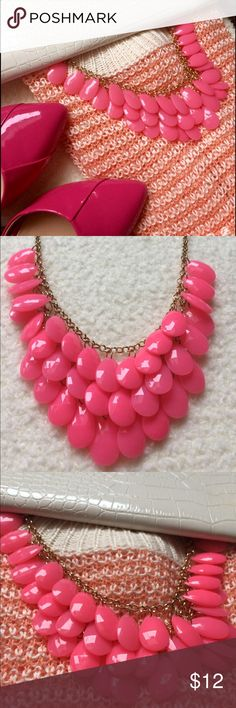 "Hot pink Teardrop dangle beads statement necklace Just in time for spring/summer to jazz up any drab outfit !! Excellent condition. Gold metal. All dangle beads. 18""L w/ extender.  Hot pink beads. Jewelry Necklaces"