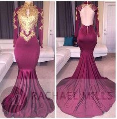 Robe De Soiree African Dubai Mermaid Long Sleeves Burgundy Prom Dresses Long 2017 Gold Appliqued Evening Dress Party Gown