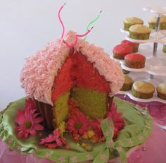 Large Cupcake cake like the idea of two different colour inside!!