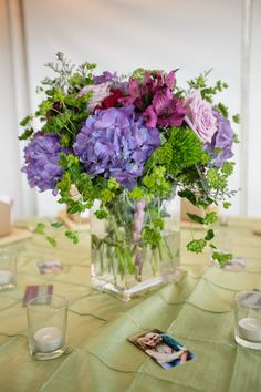 DeMuth-Eggleston Wedding Photo By Visions by Heather Centerpiece. Hydrangias. Purple and green wedding