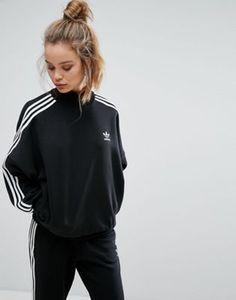 Черный свитшот с высоким воротом и тремя полосками adidas Originals