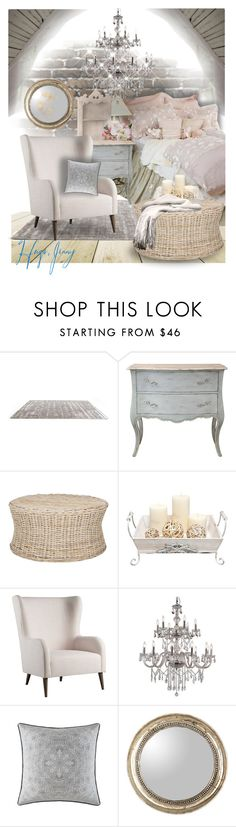 """Shabby Chic"" by fortyandlovingit ❤ liked on Polyvore featuring interior, interiors, interior design, home, home decor, interior decorating, Dot & Bo, CB2, Trans Globe Lighting and Waterford"