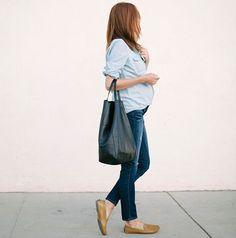 look-gravida-camisa-e-jeans