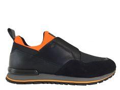 Sneakers Tod's - Todrun Chauss en néoprène orange et cuir, cuir imprimé, toile et nubuck noir