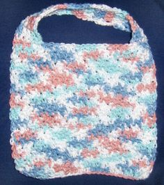 Crochet bibs. These are great! If you make them out of the same cotton yarn you use for dish cloths they are soft and wash well!!