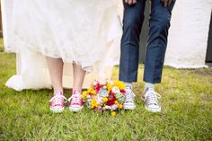 #Smart + #fun, these #sneaks are perfect for a #funfilled #outdoorwedding! ::Sarah + Zach's bright + cheery wedding at the Savannah Railroad Roundhouse and Museum in Georgia:: #weddingfashion #weddingshoes #bridalbouquet #bride #groom #weddingphotography