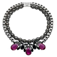 Dynasty fuchsia triple cluster necklace - Dynasty - Fine Costume - COLLECTIONS - SHOP