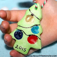 fingerprint christmas tree keepsake made from salt dough.  Simple Christmas craft for toddlers, preschoolers or older kids.