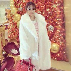 Cute Womens Long Lapel Fur Coat Parka Warm Jacket Outwear Trench Winter Overcoat