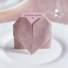 Origami heart name cards - can hold cards or just write on the names