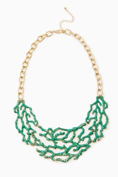 ShopSosie Style : Underwater Reef Necklace in JadeReplicating the lace-like patterns of coral, this dramatic bib necklace lays beautifully against the collarbone. Lobster clasp closure. Adjustable length. $33