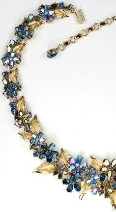 Trifari Gold Leaves with Sapphire and Blue Aurora Borealis Flowers Necklace
