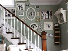 Hang up frames along your staircase without glass to create a fancy display. http://www.ivillage.com/family-photo-walls/7-a-535138