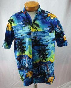 f46984c0 Royal Creations Mens Hawaiian Shirt Large Aloha Sail Boat Island Mountain  Blue
