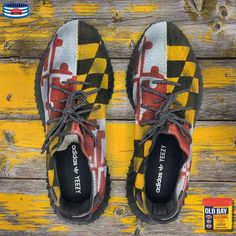 What's more Maryland than Maryland flag Yeezys + Old Bay Seasoning? 🦀 Customs by @trainkicks Paint- @jacquardproducts