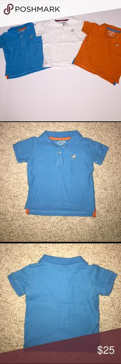 Bundle of 3 Polo Collared shirts size 12 months Bundle of 3 Polo Collared shirts size 12 months by greengog from Macy's. White, blue, and orange. Perfect short sleeve shirts for spring & summer. Looks cute with all types of shorts or pant. great condition Greendog Shirts & Tops Polos