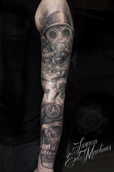 Realistic Tattoo by Lorenzo Evil Machines - Roma - Italia - Parà - Folgore - Teschio - Skull - Paracadutisti - Machera Antigas - Mask Realistic Black and Gray